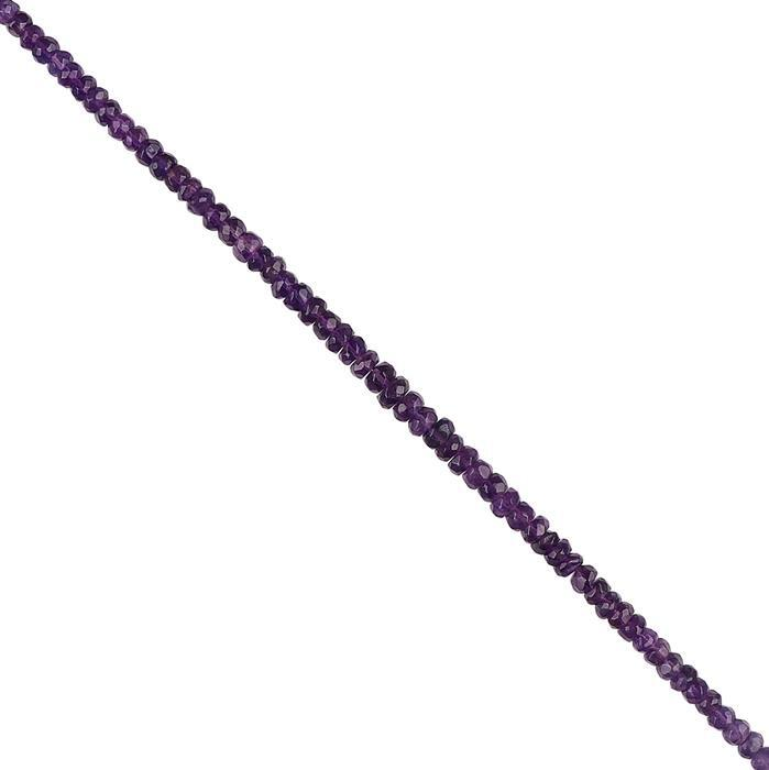 38cts Zambian Amethyst Graduated Faceted Rondelles Approx 4x2 to 5x3mm, 18cm Strand.