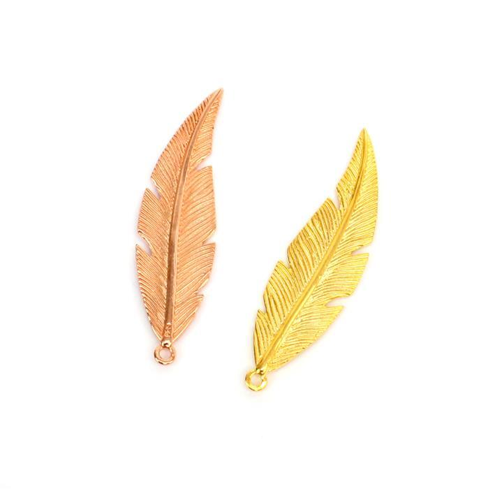 Gold & Rose Gold Plated 925 Sterling Silver Fine Detail Feather Pendant.