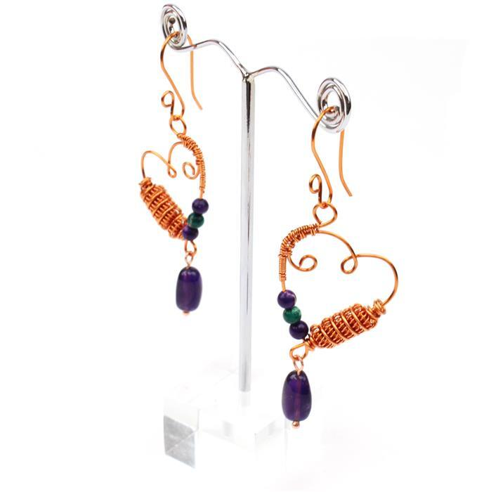 All About the Earrings; 60cts Variscite, 120cts Polished Amethyst & Copper Wire