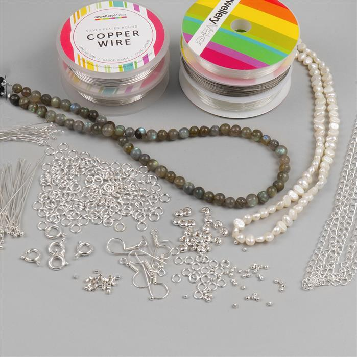 Winter Frost Jewellery Kit Inc; Freshwater Cultured Pearls, Grade A Labradorite, Silver Plated Wire, Jump Rings, Findings and Threading Essentials