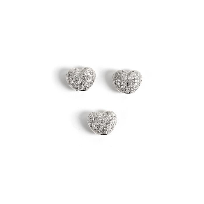 Silver Plated Base Metal CZ Heart Beads, 10x9mm (3pk)