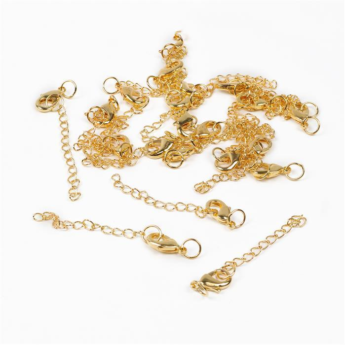 Gold Plated Brass Clasps with Extender - 65mm (20pcs/pk)