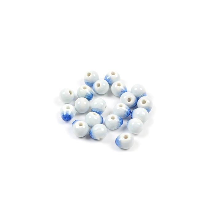Blue Ice Crack Porcelain Ceramic Drop Beads Approx 10x8mm (25pcs/pack)