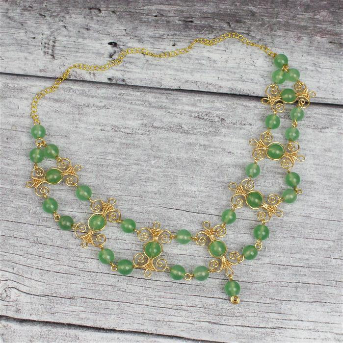 Green Eyed God INC Jadeite Puffy Hearts, Green Quartz Rounds, 0.4mm & 0.8mm Champagne Wire