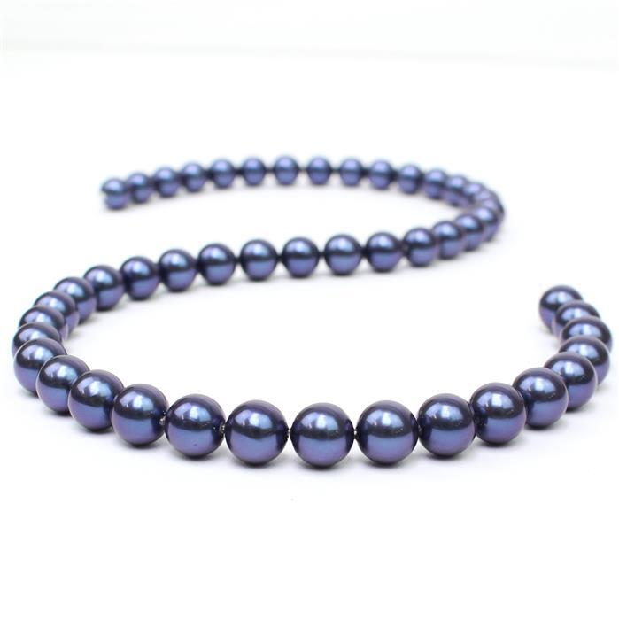 Indigo Shell Pearl  Plain Rounds Approx 8mm, 38cm length