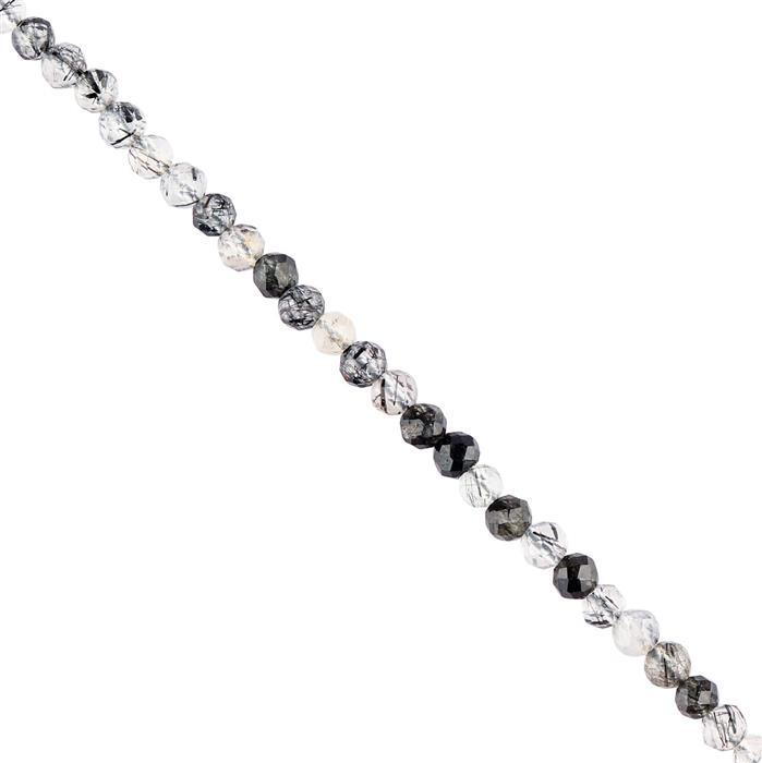 20cts Black Rutile Quartz Faceted Rounds Approx 3mm, 38cm Strand.