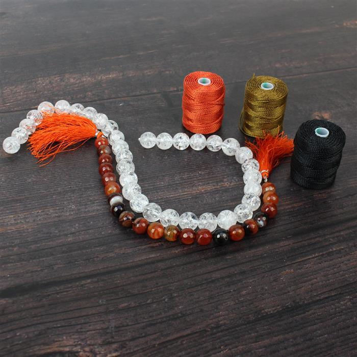 Firelight; Crackled Quartz 12mm, Carnelian Colour Banded Agate Rounds 10mm & Nylon Cord