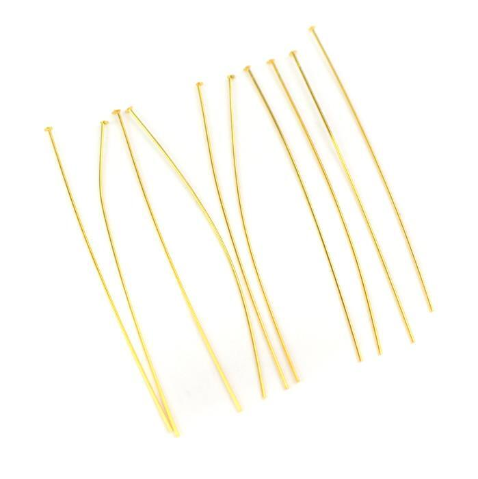 Gold Plated 925 Sterling Silver Headpins - 50mm (0.5mm) - (10pcs/pk)
