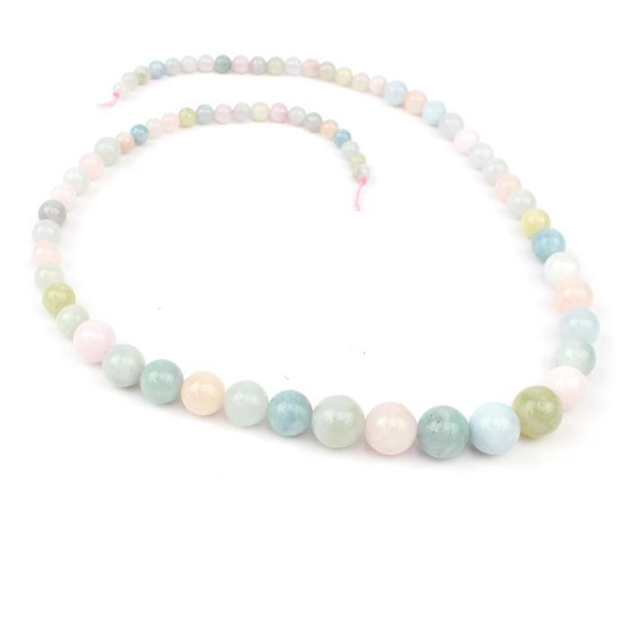100cts Multi-Colour Beryl Graduated Plain Rounds Approx from 4mm to 10mm, 38cm strand