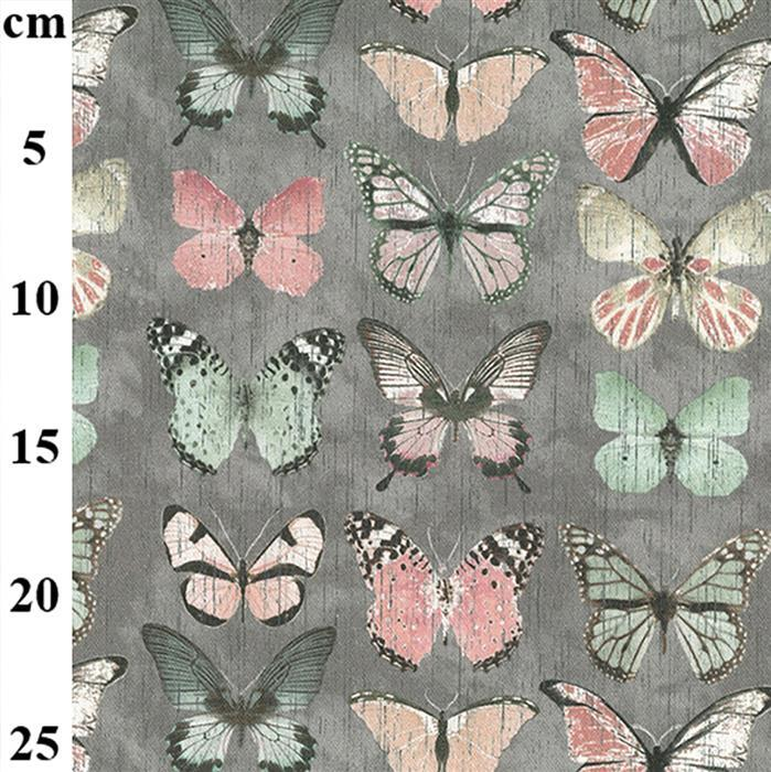100% Cotton Canvas Butterflies on Grey 0.5m