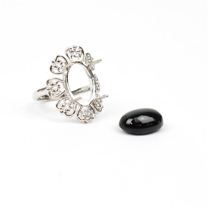 Size 7 925 Sterling Silver Cocktail Ring Mount Fits 14x10mm Oval Inc. 8cts Black Star Diopside 14x10mm Oval Cabochon