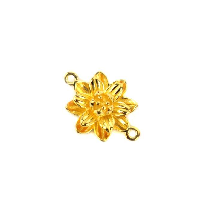 Gold Plated 925 Sterling Silver 3D Lotus Flower Connector Approx 12x16mm, 1pc