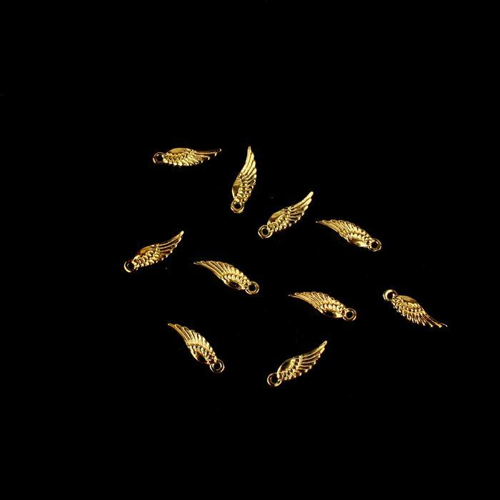 Gold Plated 925 Sterling Silver Angel Wing Charms Approx 11x3mm 10pcs