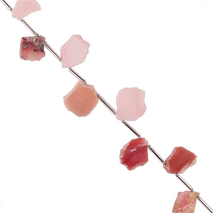 55cts Pink Opal Graduated Plain Slabs Approx 13x11 to 21x15mm, 16cm Strand.