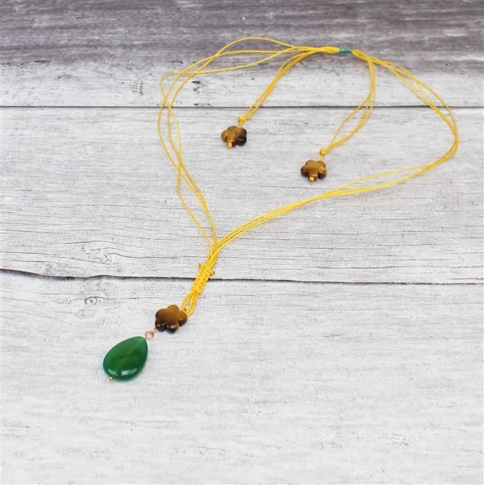 Spring Garden INC Five Petal Flower shaped Tigers Eye & Green Stripe Agate Puffy Pears