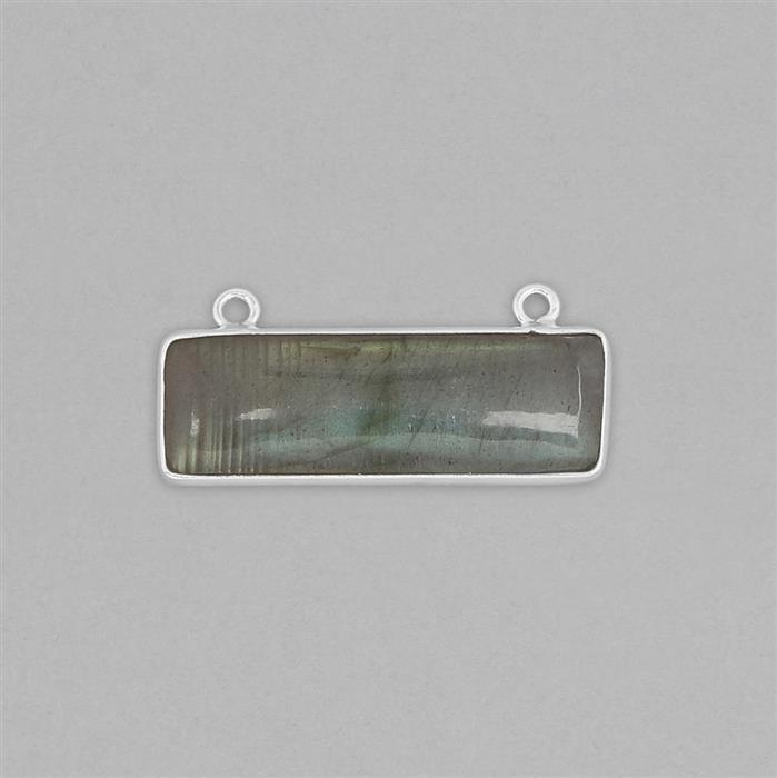 Silver Plated Copper 12cts Labradorite Smooth Rectangular Pendant Approx 30x14mm