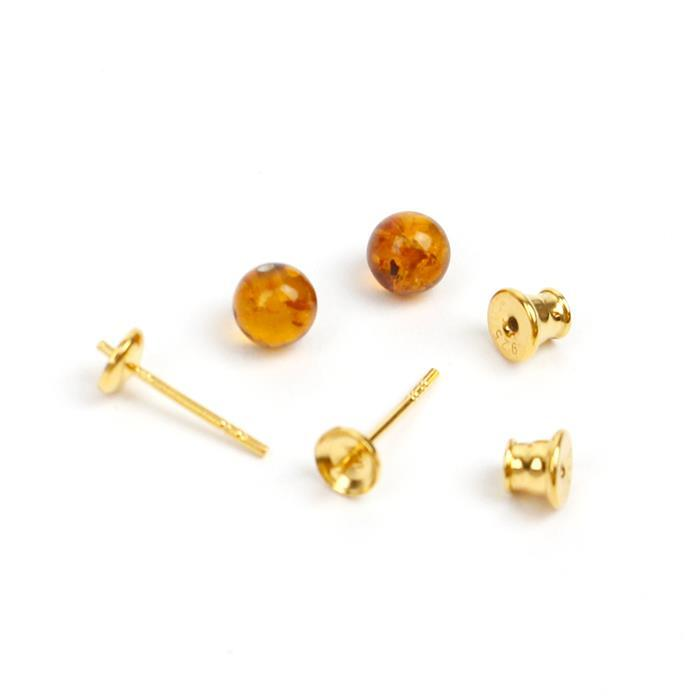Baltic Cognac Amber Gold Plated Sterling Silver Stud Earrings, Approx 6mm (1 pair)