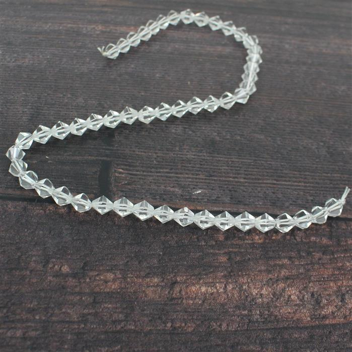 100cts Clear Quartz Bicones Approx 8mm 38cm strand