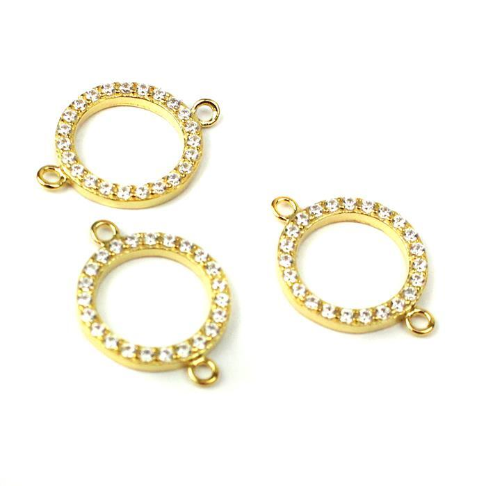 Gold Plated 925 Sterling Silver Cubic Zirconia Circle Connector 12mm 3pk