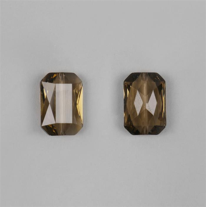 Smoky Quartz Swarovski Emerald Cut Beads 18x12.5mm 5515 2pk
