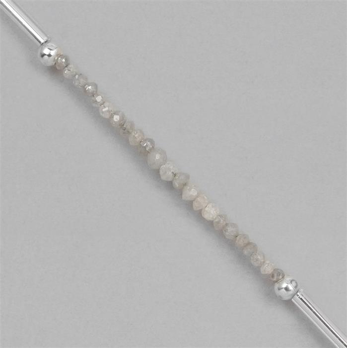 1.75cts Silver Diamond Graduated Faceted Rondelles Approx 1x1 to 2x1mm, 4cm Strand.
