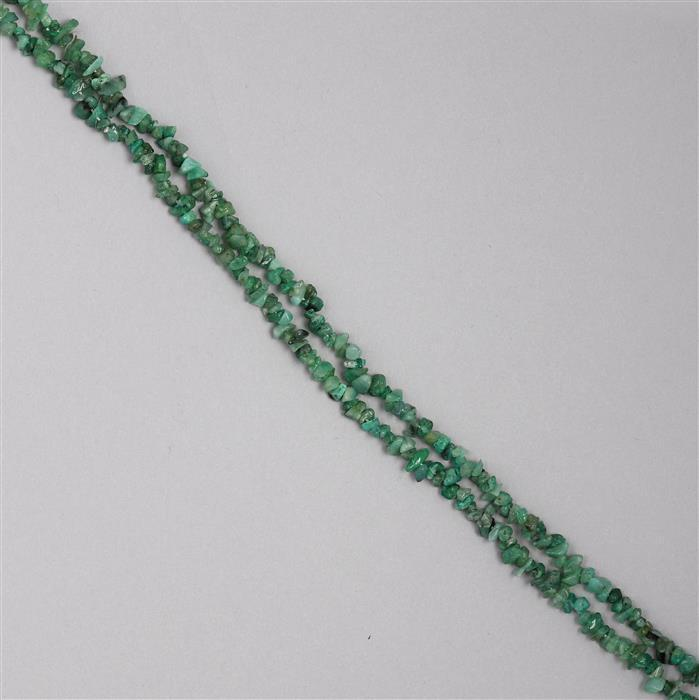 132cts Emerald Plain Small Nuggets Approx 2x1 to 8x2mm, 98cm Strand.