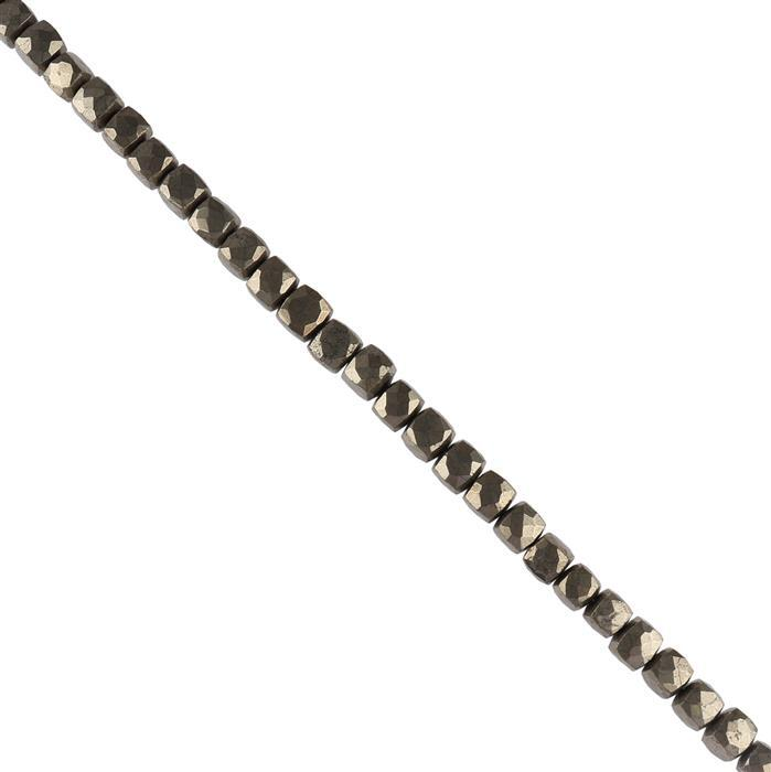 248cts Pyrite Graduated Faceted Cubes Approx 6 to 8mm, 20cm Strand.