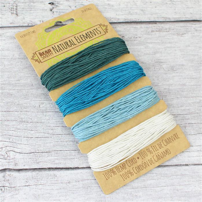 Beadsmith Hemp 4 Colour Card - Aqua Shades, 1.00mm