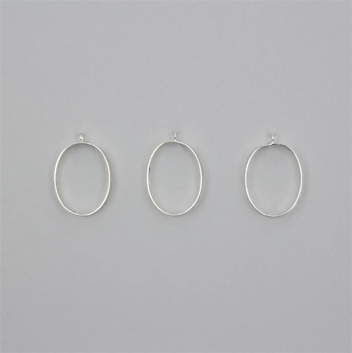 Silver Plated Brass Pendant Ovals Approx 30x22mm 3pcs/ set