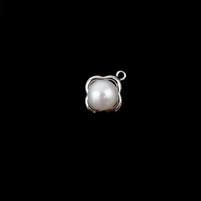 White Freshwater Cultured Pearl Button 8-9mm in 925 Sterling Silver Pendant