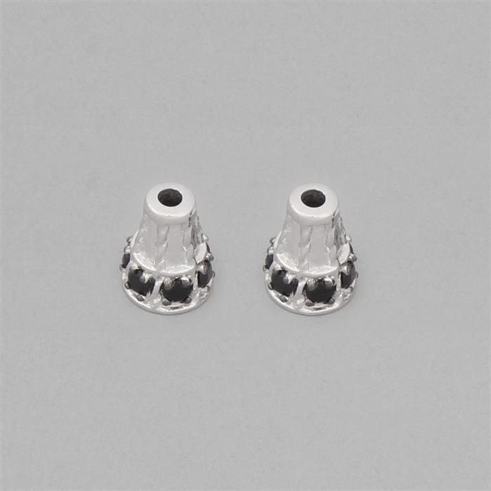925 Sterling Silver Gemstone Cones Approx 10x8mm Inc. 0.98cts Black Spinel Round Approx 2.5mm (2pcs)