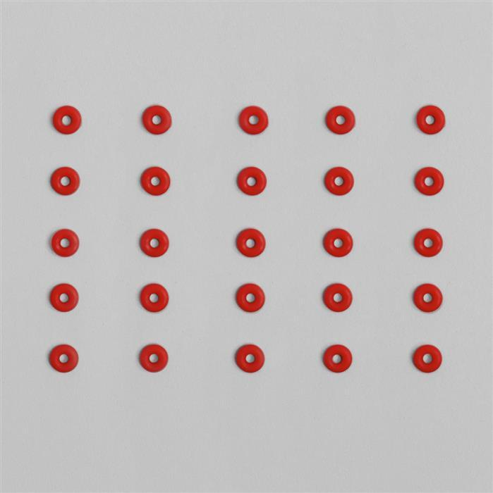 Cherry Red 'O' Ring Approx OD 6mm x ID 2mm (100pcs/pack)