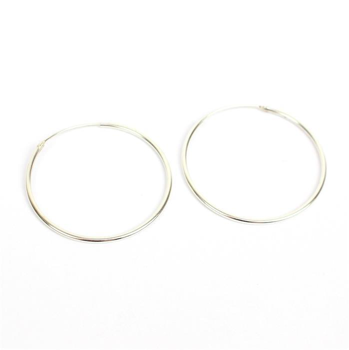 925 Sterling Silver Hoop Earrings Approx 1.5x38mm