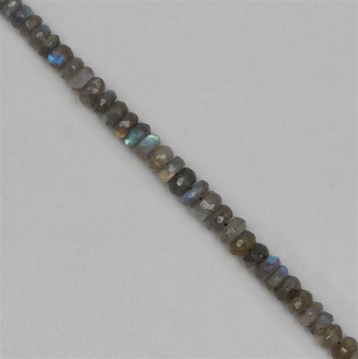 90cts Labradorite Graduated Faceted Rondelles Approx 4x2 to 8x4mm, 18cm Strand.