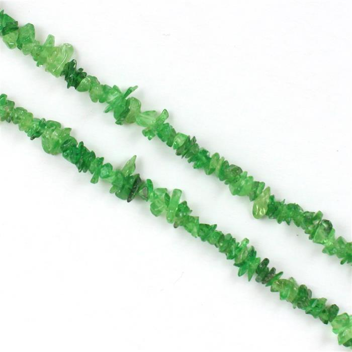 100cts Tsavorite Garnet Plain Small Nuggets Approx 1x1 to 5x1mm, 86cm Strand.