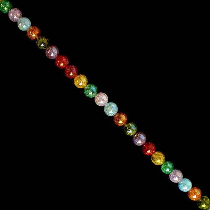 710cts Rainbow Coated Crackled Multi-Colour Quartz Plain Rounds Approx 16mm, 38cm strand