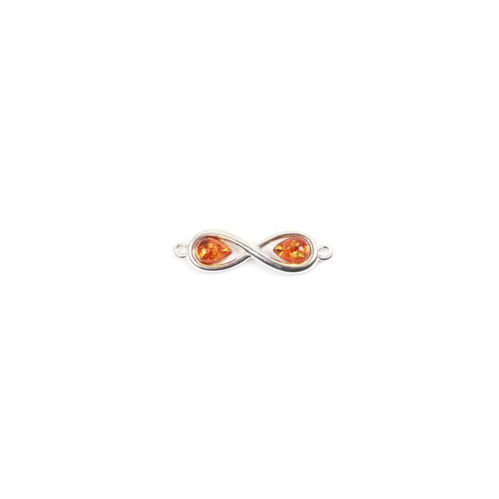 Balic Cognac Amber Infinity Sterling Silver Connector approx 32x8mm