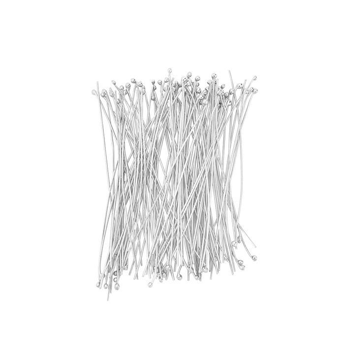 925 Sterling Silver Featherweight Head Pins - 40mm with 1mm Ball - (100pcs/pk)
