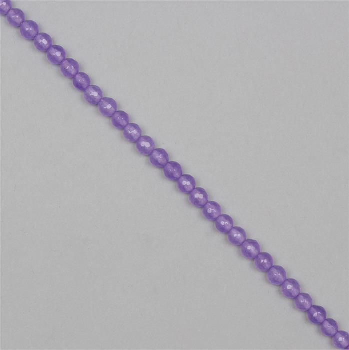 80cts Purple Colour Dyed Quartz Faceted Rounds Approx 6mm, 36cm Strand.