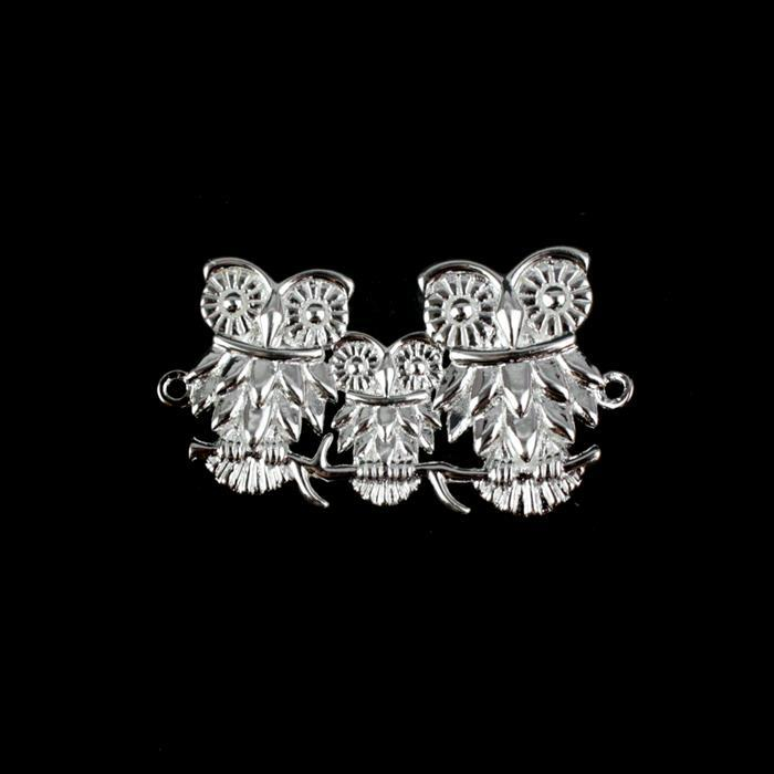 925 Sterling Silver Owl Family Connector Approx 19x30mm 1pc