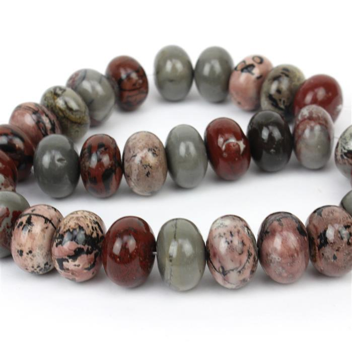 890cts Brown & Grey Picture Jasper Plain Rondelles Approx 13x18mm, 38cm/strand