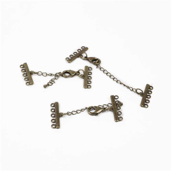 Antique Bronze Plated Lobster Clasp with Multi-Strand Connector - up to 80x25mm (3pcs/pk)