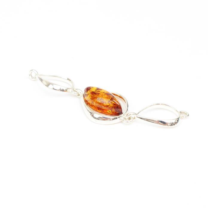 Baltic Cognac Amber Cabochon Marquise 47x12mm in a Sterling Silver Element