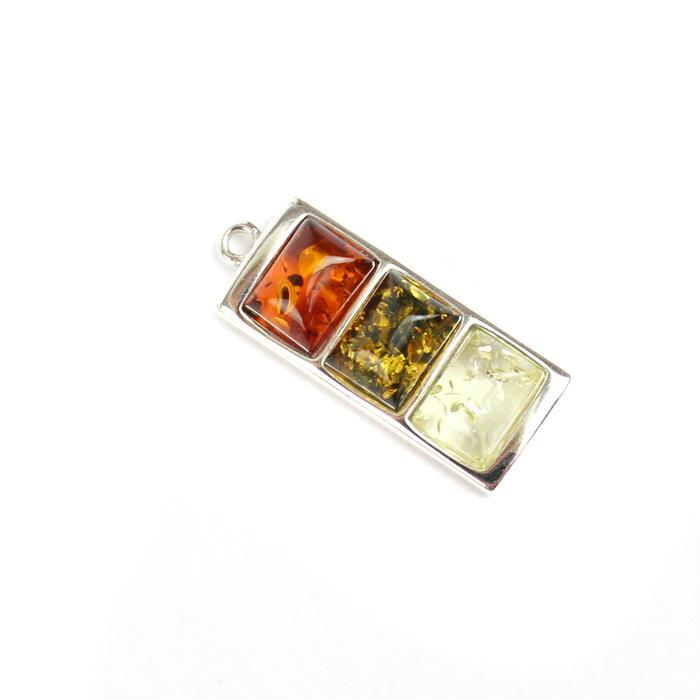 Baltic Multi Colour Amber Sterling Silver Pendant, Approx 23x10mm