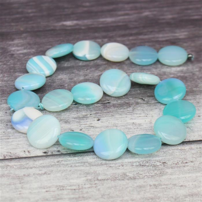 380cts Aqua Stripe Agate Puffy Coins Approx 20mm, 38cm/strand