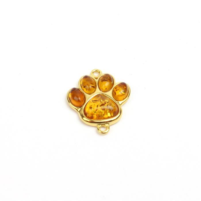 Gold Plated Sterling Silver Baltic Cognac Amber Paw Print Connector, Approx 18x21mm