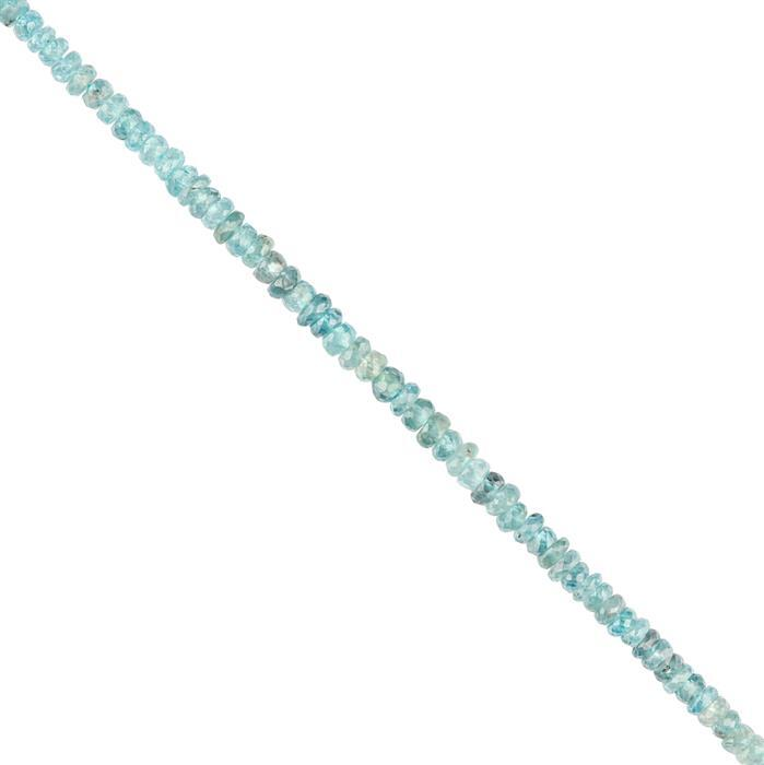45cts Blue Zircon Graduated Faceted Rondelles Approx 3x1 to 4x2mm, 16cm Strand.