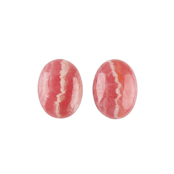 16cts Rhodochrosite Oval Cabochons 16x12mm. (Pack of 2)