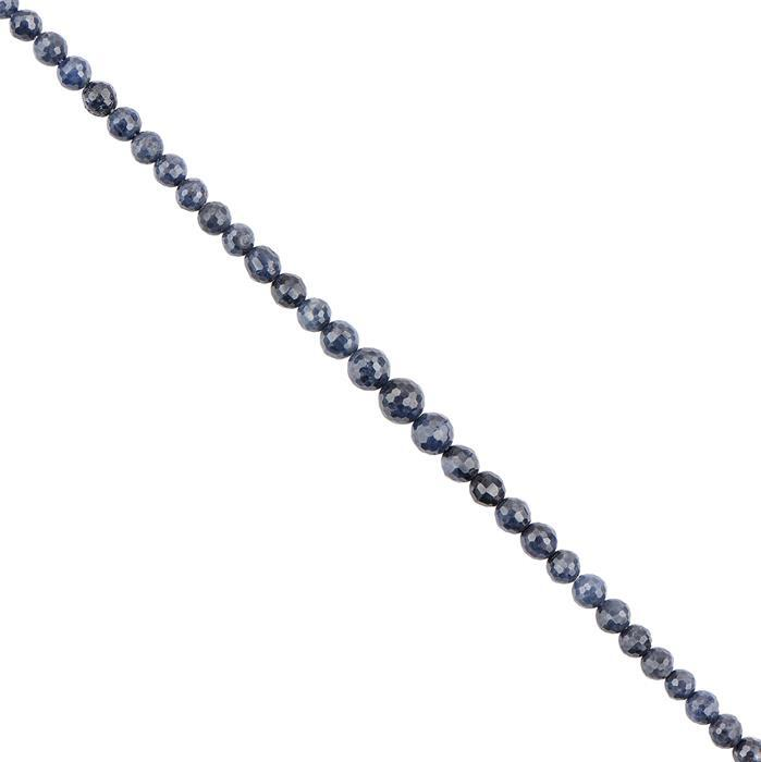 40cts Blue Sapphire Faceted Rounds Approx 3 to 5mm, 18cm Strand.