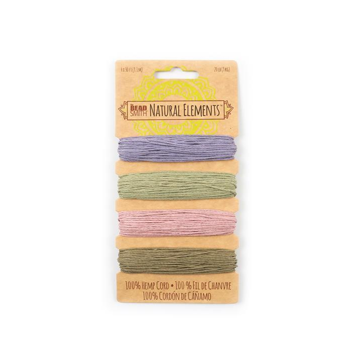 Pack of 4 x 9m Hemp Cords in Vintage Colours, 1mm